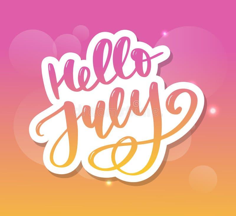 De van letters voorziende druk van Hello Juli De zomer minimalistic illustratie Ge?soleerde kalligrafie op witte achtergrond royalty-vrije illustratie