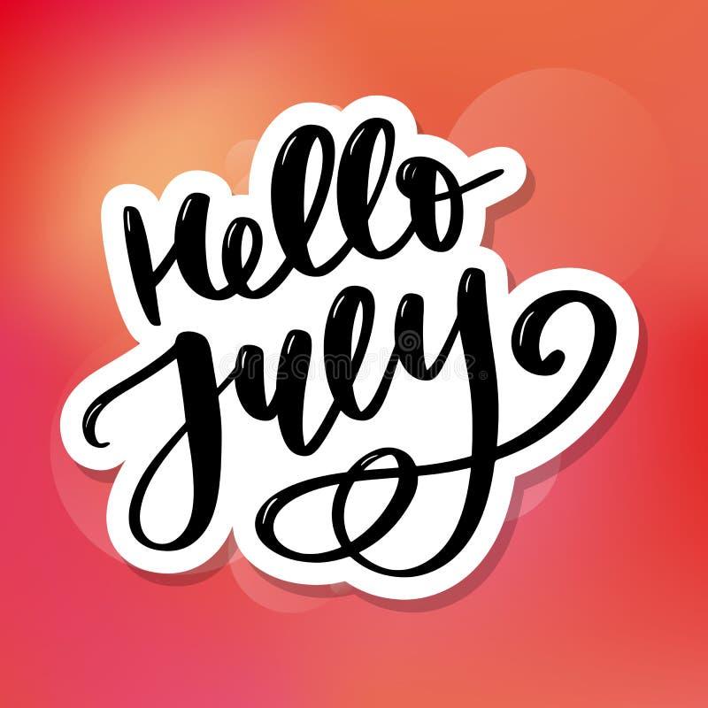 De van letters voorziende druk van Hello Juli De zomer minimalistic illustratie Ge?soleerde kalligrafie op witte achtergrond stock foto