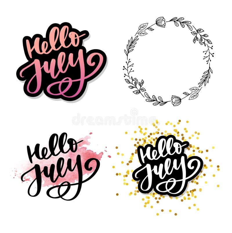 De van letters voorziende druk van Hello Juli De zomer minimalistic illustratie Ge?soleerde kalligrafie op witte achtergrond stock illustratie