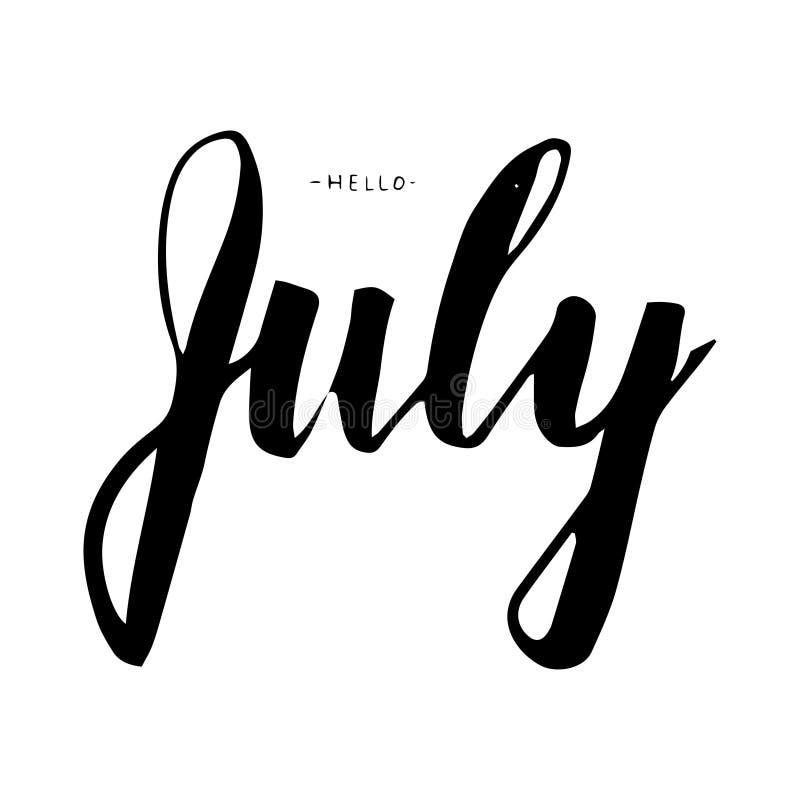 De van letters voorziende druk van juli De illustratie van de zomer vector illustratie
