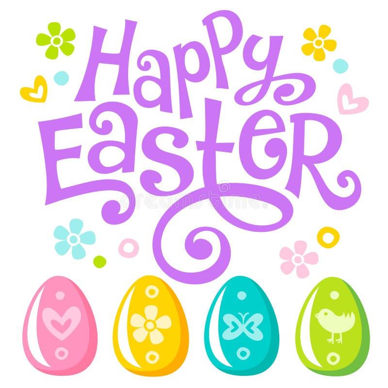 De van letters voorziende Gelukkige tekst en de eieren van Pasen stock illustratie