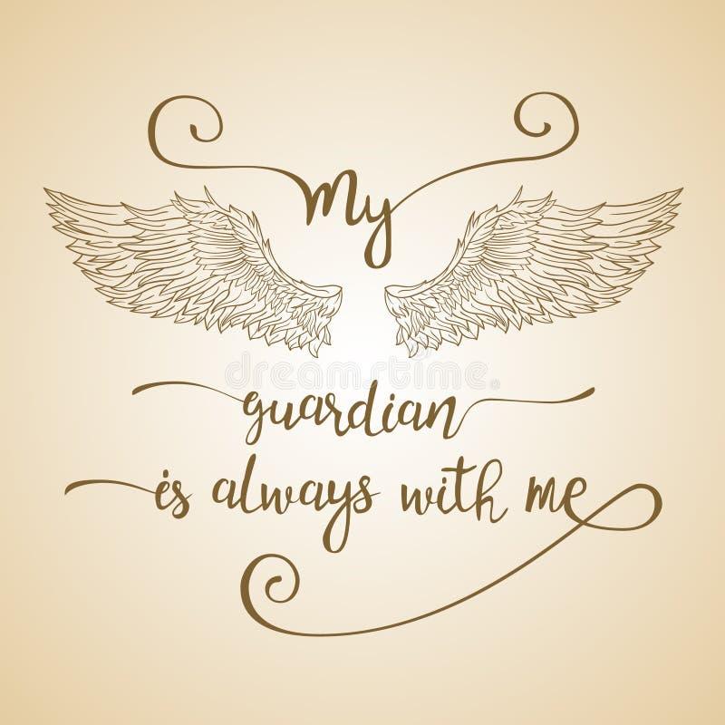 De van letters voorziende getrokken hand citeert met engelenvleugels royalty-vrije illustratie