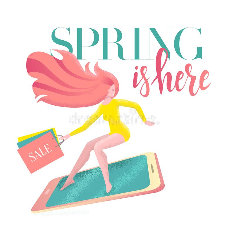 De van letters voorziende Lente is hier op kaart met meisje op smartphone in zeven haasten aan verkoop met het winkelen zakken Ko stock illustratie