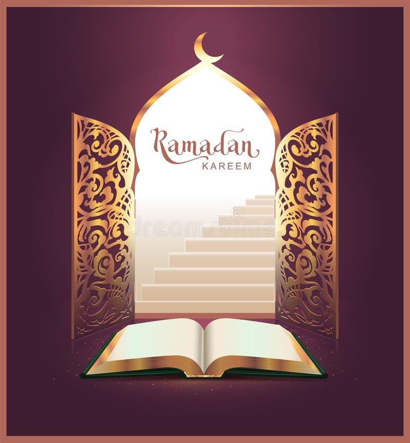 De van letters voorziende tekst van Ramadan Kareem en open boek, deur