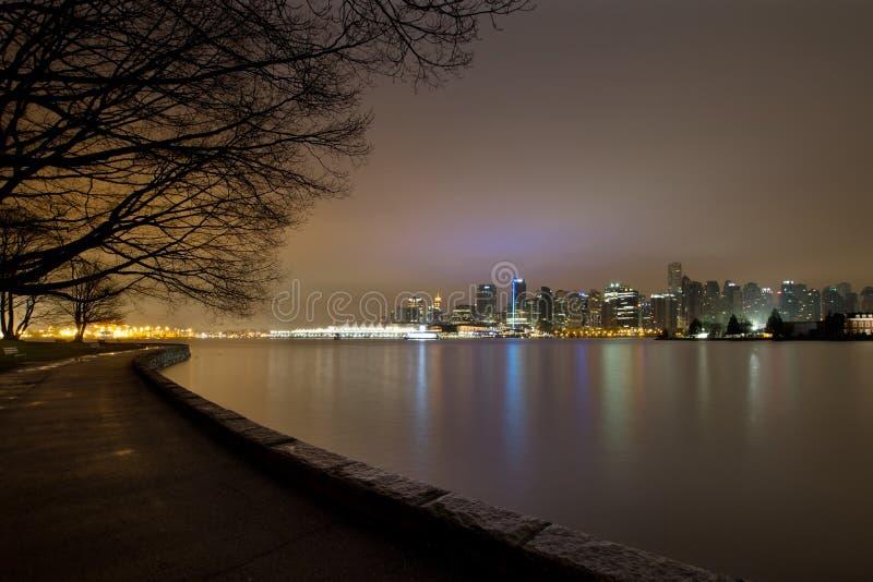 De Vancôver paredão do parque BC Stanley no alvorecer fotos de stock royalty free