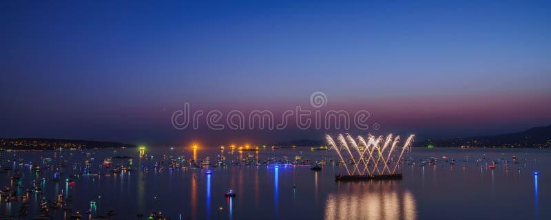 De Vancouver Canada AVANT JÉSUS CHRIST, juillet 28,2018 La célébration de Honda de la lumière, feux d'artifice de nuit de l'Afriq image libre de droits