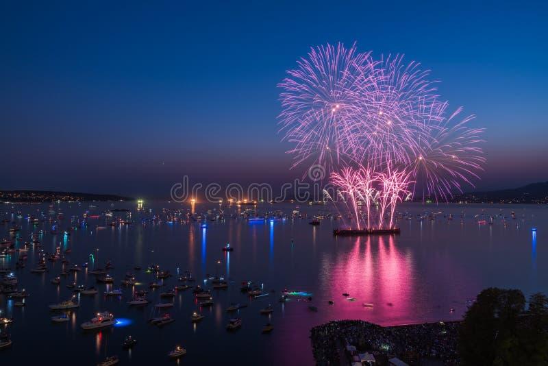 De Vancouver Canada AVANT JÉSUS CHRIST, juillet 28,2018 La célébration de Honda de la lumière, feux d'artifice de nuit de l'Afriq photos libres de droits