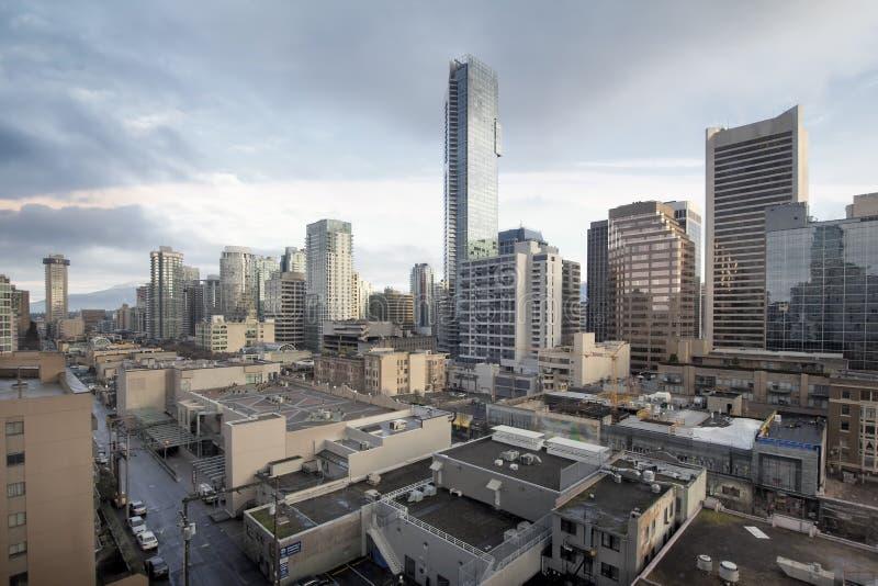 De Vancouver día del paisaje urbano de la calle A.C. Robson fotografía de archivo libre de regalías