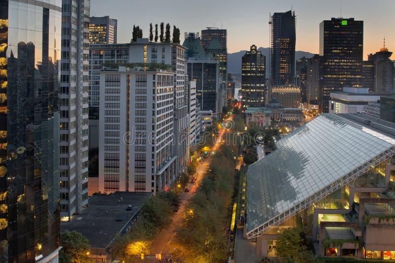 De Vancouver paisaje urbano A.C. en la salida del sol fotografía de archivo
