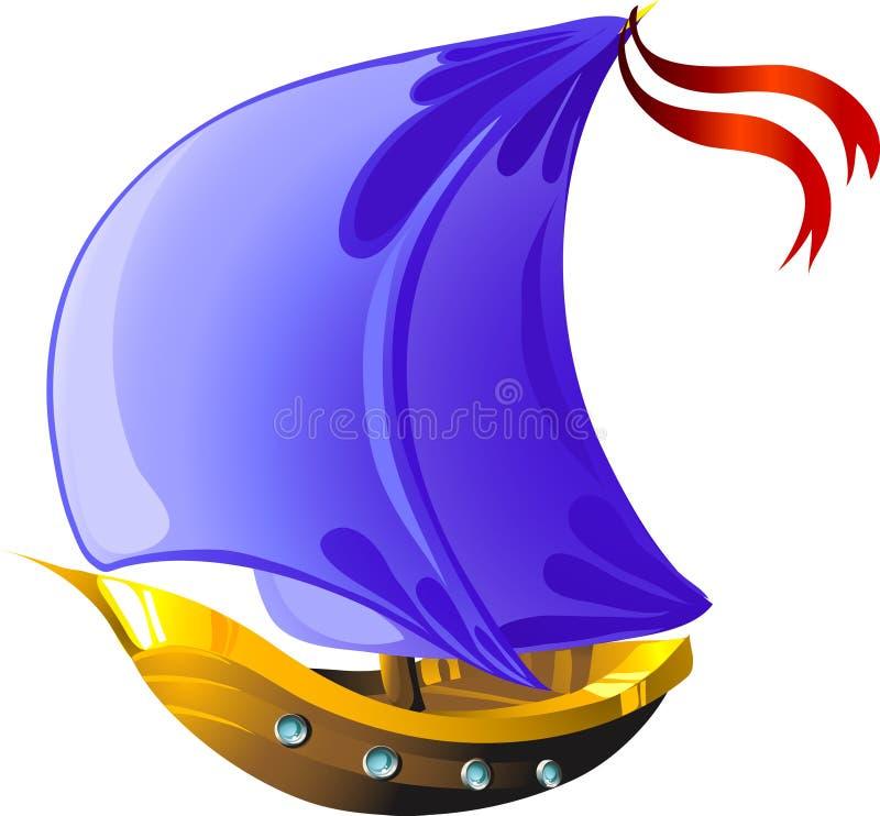 De varende boot van het beeldverhaal vector illustratie