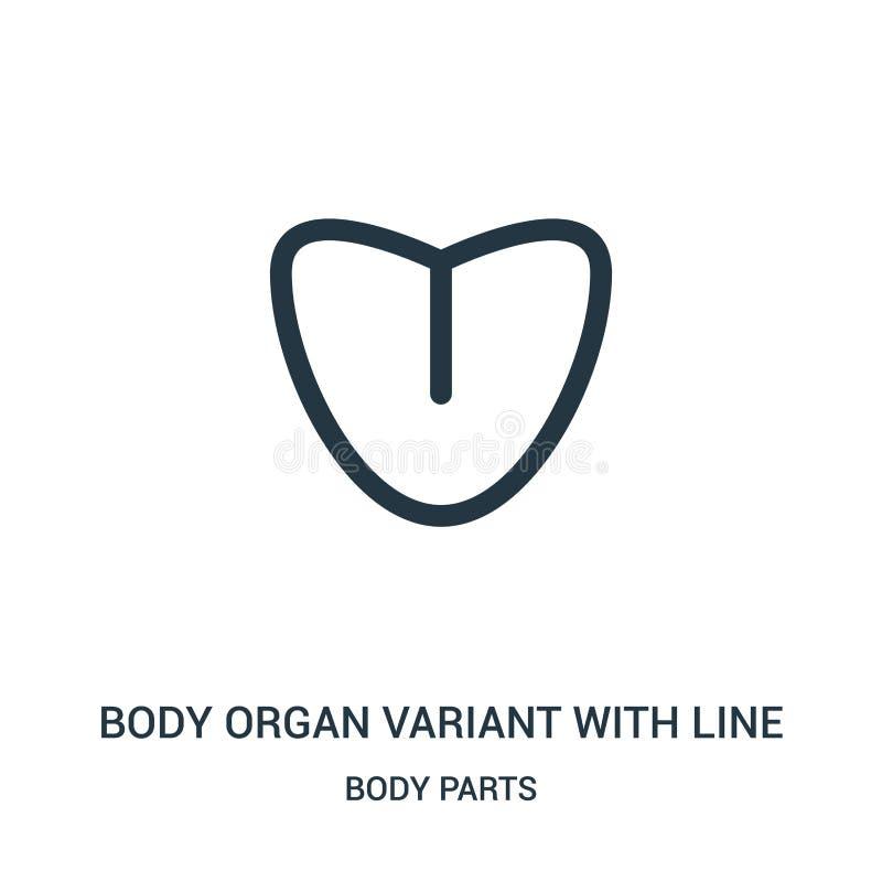 de variant van het lichaamsorgaan met de vector van het lijnpictogram van lichaamsdeleninzameling Dunne het orgaanvariant van het stock illustratie