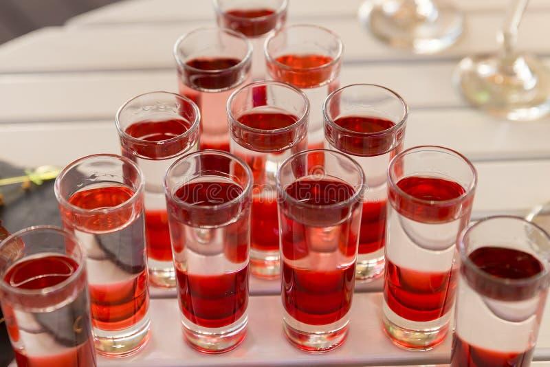 De variatie van harde alcoholische schoten diende op witte lijst royalty-vrije stock afbeeldingen