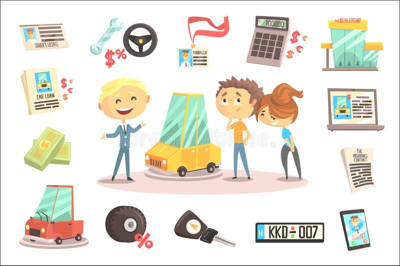 De Vaste Professionele Handelaar die van het autohandel drijven het Voertuig verkopen aan de Jonge Paarillustratie met Verschille royalty-vrije illustratie
