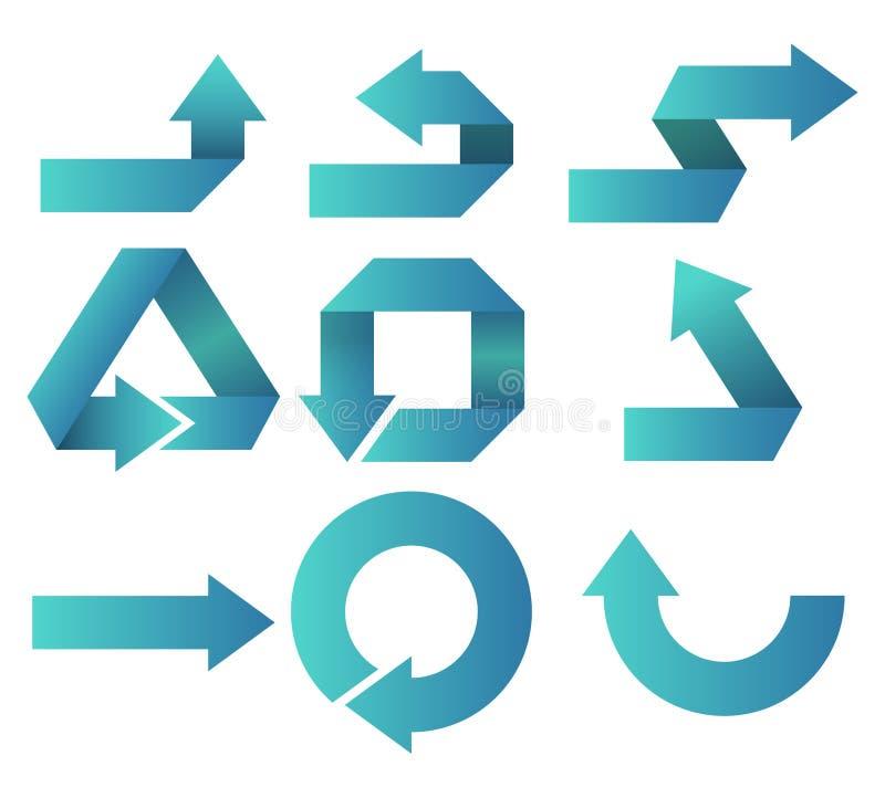 De vastgesteld pijl van het pakpictogram of symbool of knoopwebsite, toepassing stock illustratie