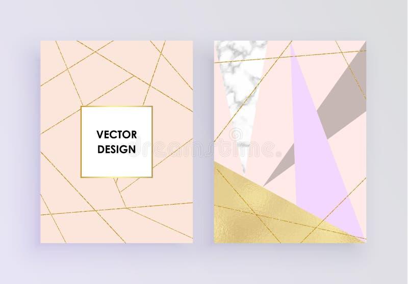 De vastgestelde abstracte geometrische ontwerpen met gouden en roze folie, marmer, schitteren, achtergrond van de pastelkleur de  vector illustratie