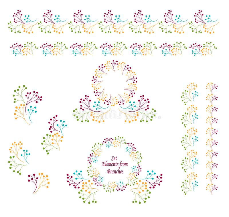 De vastgestelde abstracte Kronen van grenzencirkels van takken kleurrijke tonen stock illustratie