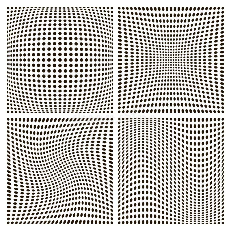 De vastgestelde achtergronden van het puntpatroon, diverse vervorming die, vectorvervorming compressie en het verdraaien opblazen vector illustratie