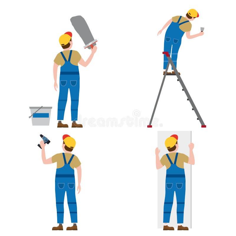 De vastgestelde Arbeiders zetten pleister op een trapladder, met een schroevedraaier, installerend de panelen van de gipsgipsplaa stock illustratie