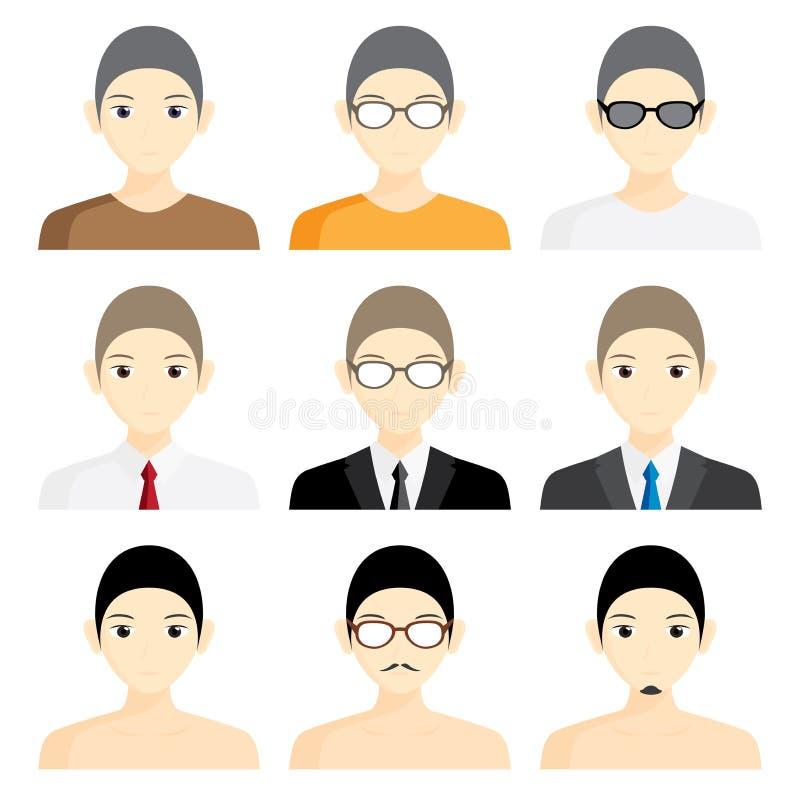 De vastgestelde avatar zaken van het het beeldprofiel van het mensenbeeldverhaal vector illustratie