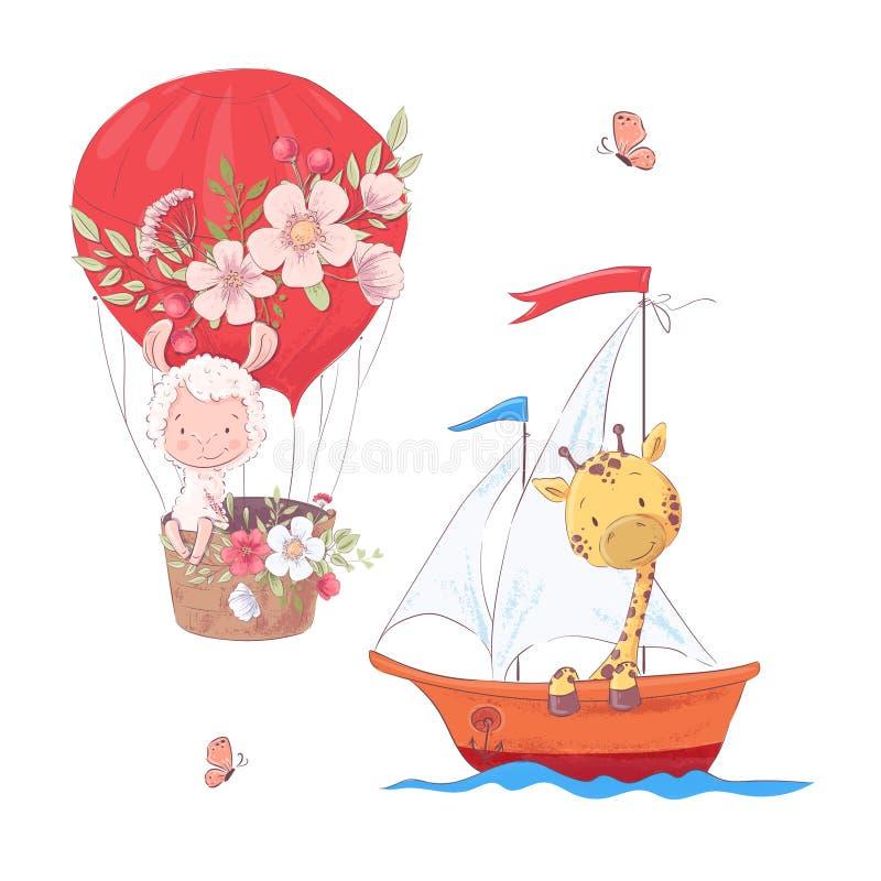 De vastgestelde ballon en de giraf van de beeldverhaal leuke lama op zeilbootjonge geitjes clipart vector illustratie