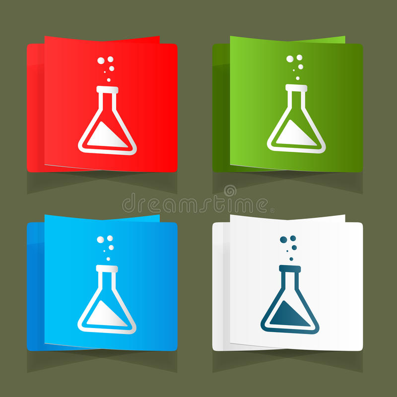 De vastgestelde blauwe achtergrond eps van pictogrammen chemische experimenten royalty-vrije illustratie