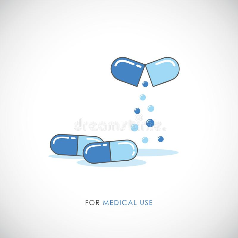 De vastgestelde blauwe pillen en pijnstillers van capsulestabletten, antibiotica, vitaminen medisch pictogram vector illustratie