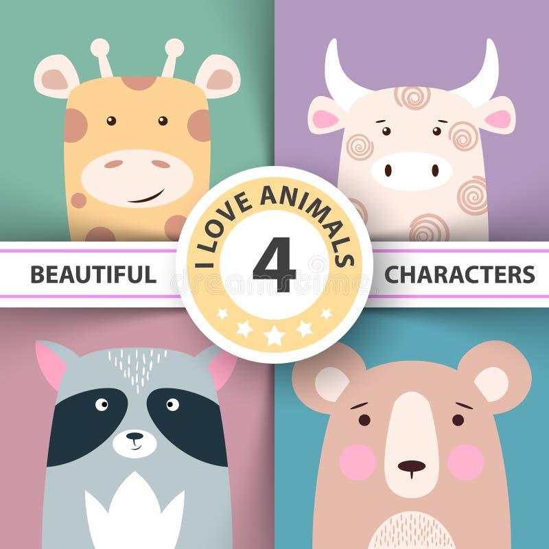 De vastgestelde dierlijke illustratiegiraf, koe, wasbeer, draagt stock illustratie