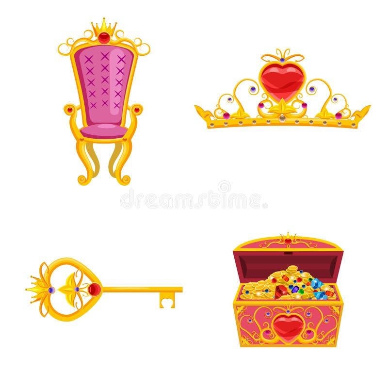 De vastgestelde elementen van de Feewereld en attributen van ontwerp Schatborst, tiara, sleutel, troon Vector, illustratie, beeld vector illustratie