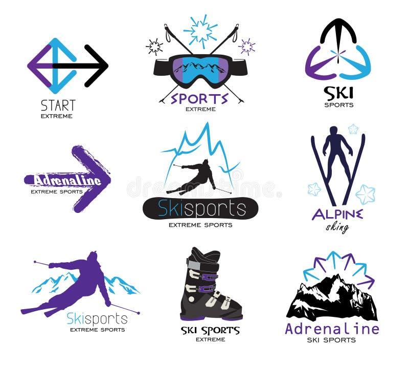 De vastgestelde emblemen van de skisport, emblemen, etiketten vector illustratie