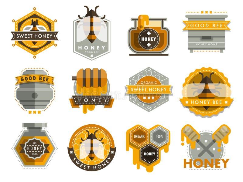 De vastgestelde etiketten van het bijenembleem voor het organische landbouwbedrijf van honingsproducten verzinnebeelden de natuur stock illustratie