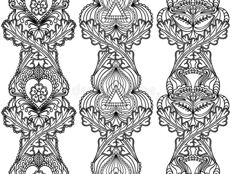 De vastgestelde etnische naadloze verticale patronen van Boho stock illustratie