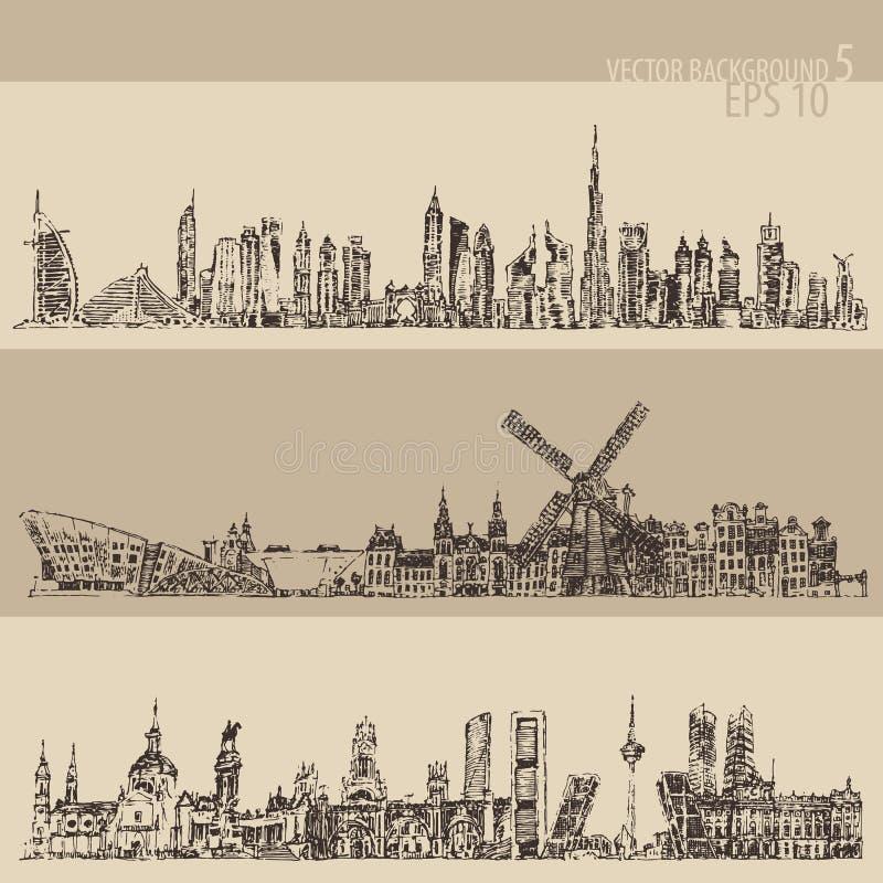 De vastgestelde Gegraveerde Schets van Doubai Madrid Amsterdam Wijnoogst stock illustratie