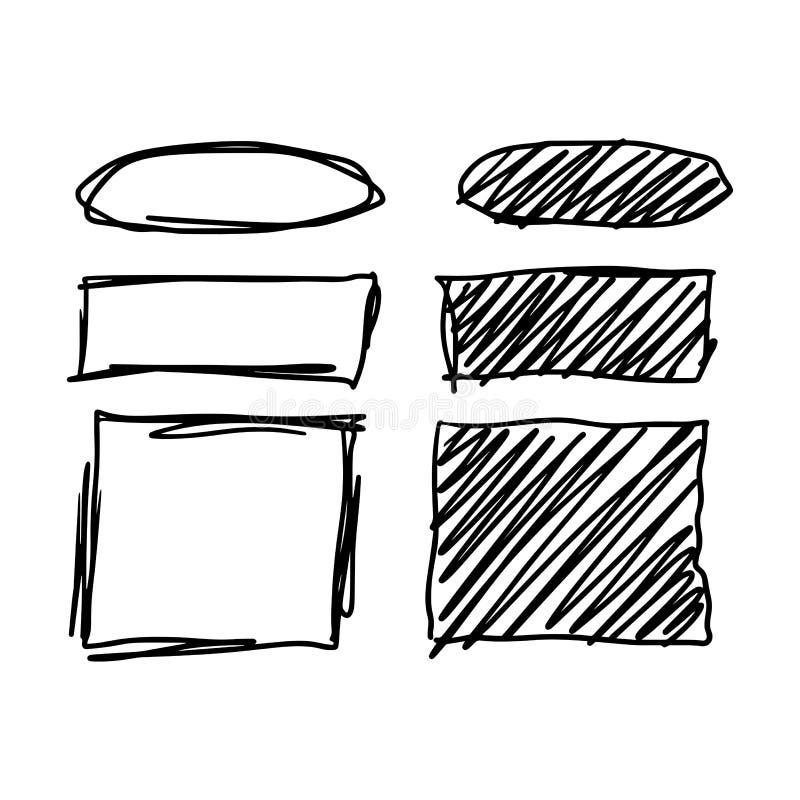 De vastgestelde getrokken hand van de tellersstijl stock illustratie