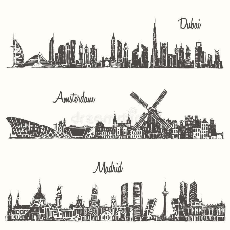 De vastgestelde getrokken schets van horizonnendoubai Madrid Amsterdam stock illustratie