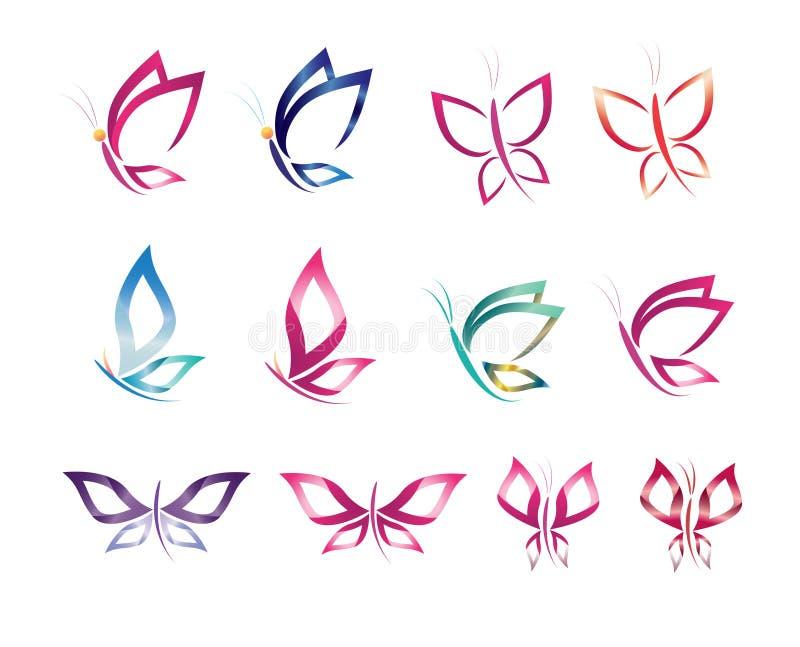 De vastgestelde het ontwerp vectorvlinder van het symboolpictogram, embleem, schoonheid, kuuroord, levensstijl, zorg, ontspant, v royalty-vrije illustratie