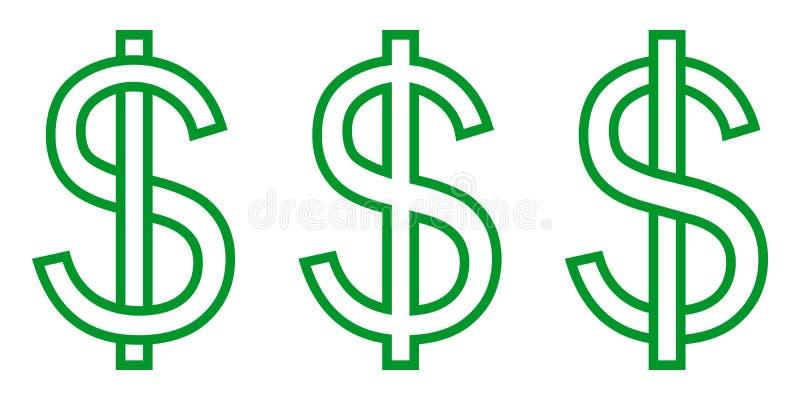 De vastgestelde het symbooldollar van het pictogramgeld, brief S strengelde met verticale streep, het vector vastgestelde groene  royalty-vrije illustratie
