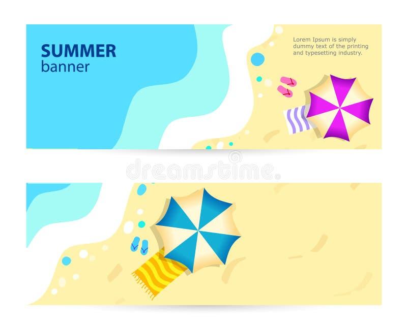 De vastgestelde horizontale dag van de Banner Zonnige zomer, Zomer in vectorillustratie royalty-vrije illustratie