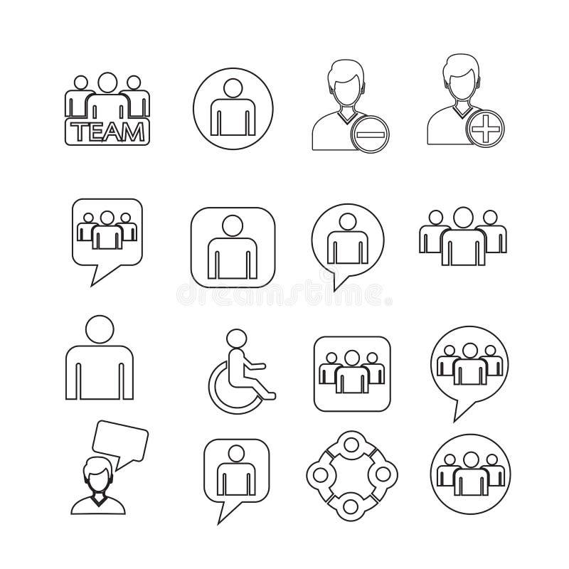 De vastgestelde Illustratie van het mensenpictogram stock illustratie