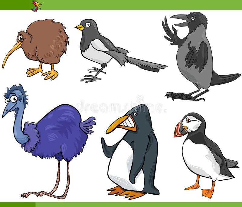 De vastgestelde illustratie van het vogelsbeeldverhaal vector illustratie