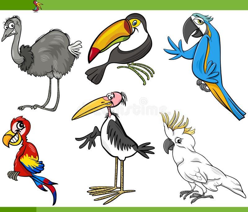 De vastgestelde illustratie van het vogelsbeeldverhaal royalty-vrije illustratie