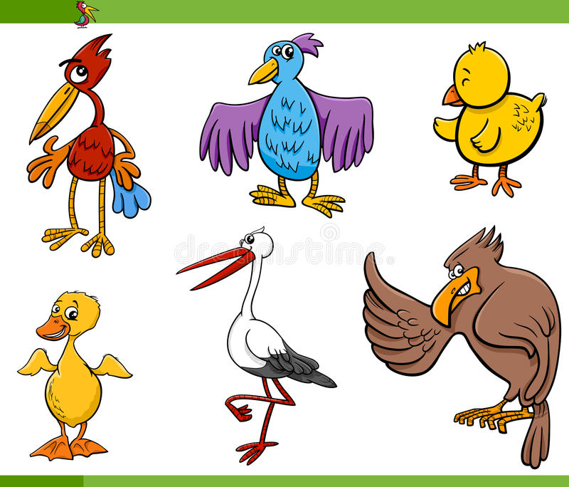 De vastgestelde illustratie van het vogelsbeeldverhaal stock illustratie