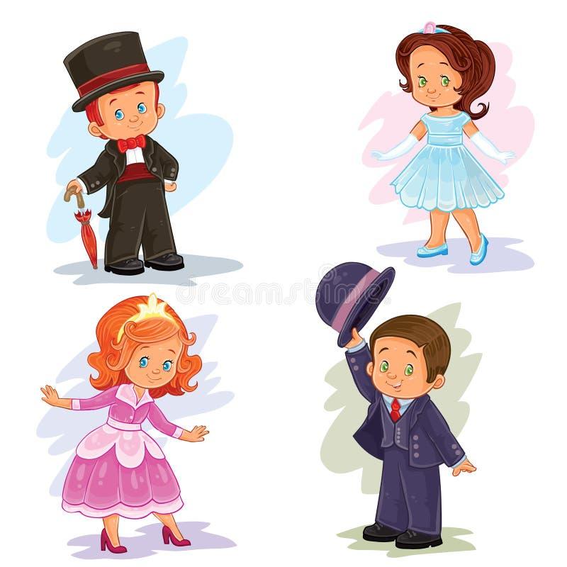 De vastgestelde illustraties van de klemkunst met jonge kinderen in balzaalkostuums stock illustratie
