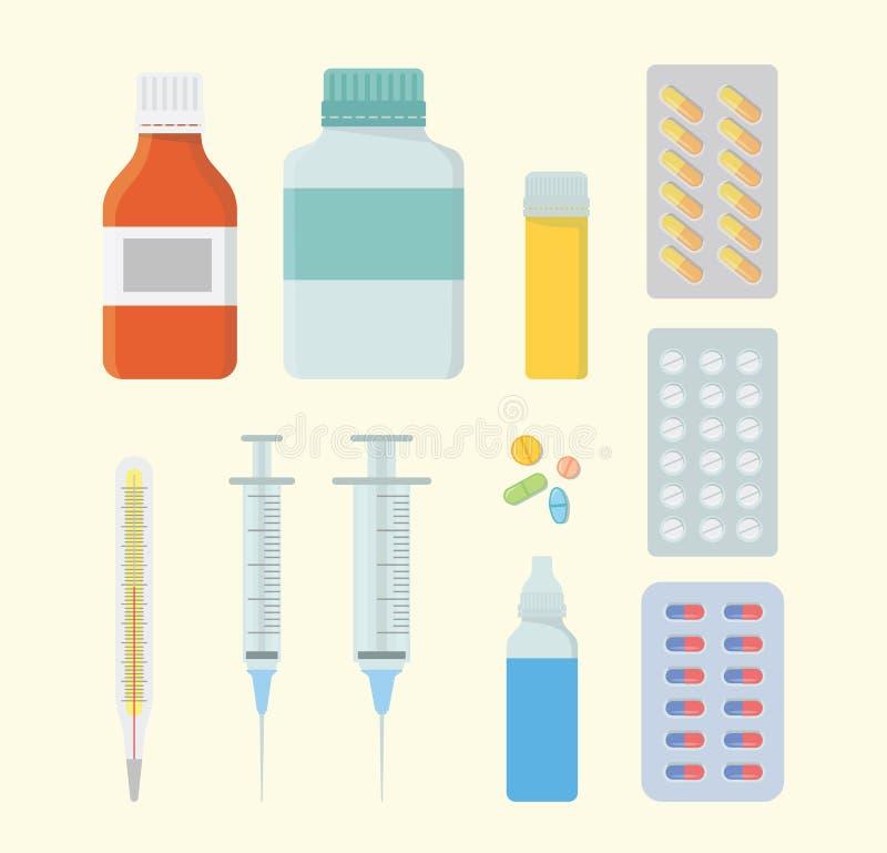 De vastgestelde inzameling van de geneeskundegezondheid met diverse vorm en model met spuit en pillencapsule - vector illustratie