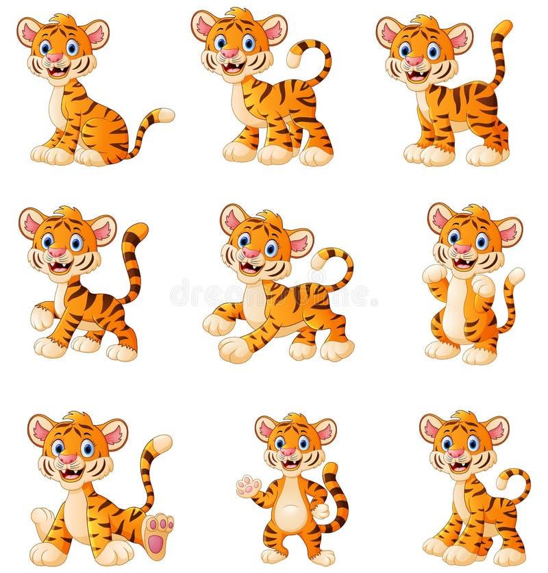 De vastgestelde inzameling van het tijgerbeeldverhaal royalty-vrije illustratie