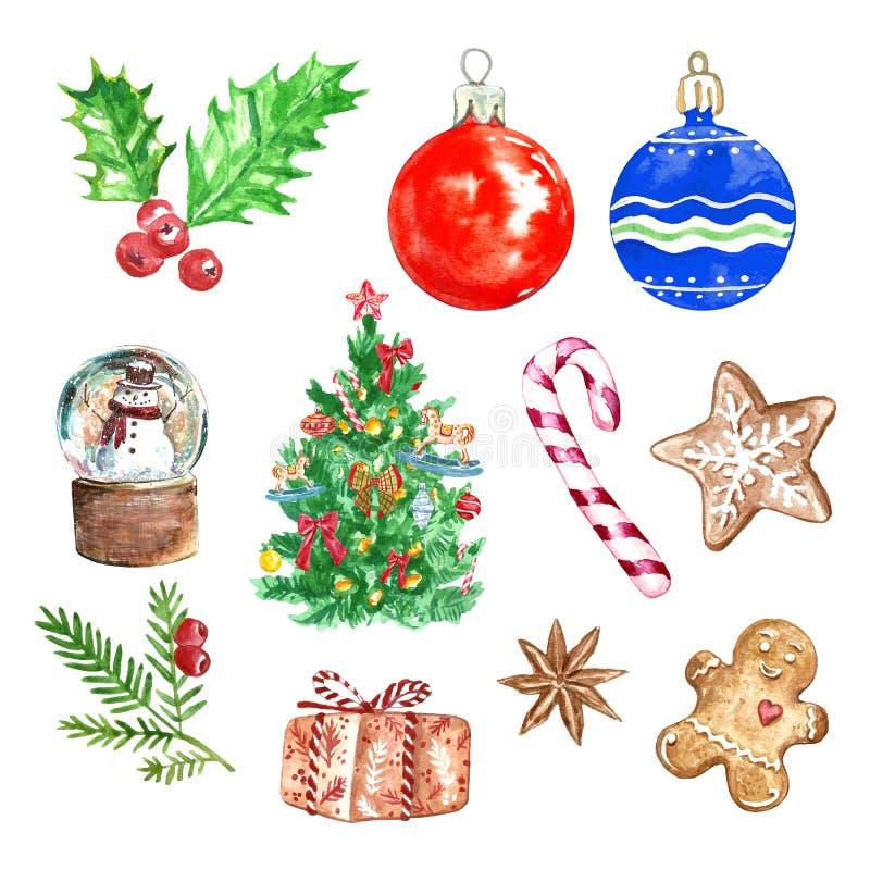 De vastgestelde inzameling van waterverfkerstmis met symbolen van de wintervakantie, op witte achtergrond Hand geschilderde Kerst vector illustratie