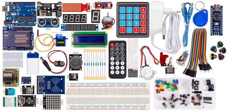 De vastgestelde inzamelingsmicrocontroller knoop van de de vertoningssensor van de delenraad schakelt rfid modulelcd de toebehore stock afbeelding