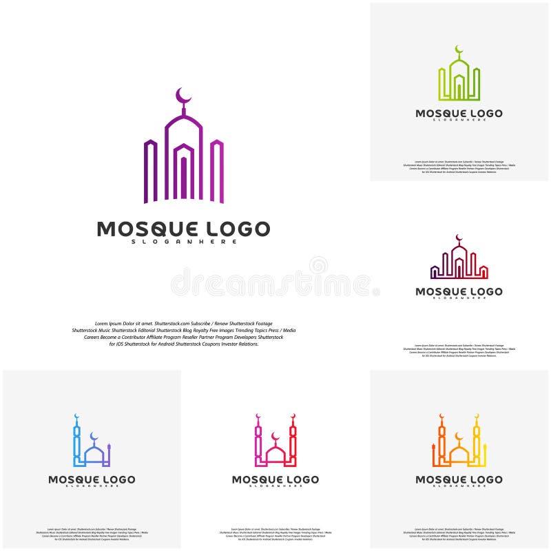 De vastgestelde Islamitische vector van het embleemontwerp Het malplaatje van het moskeeembleem Moslims leren embleemmalplaatjes stock illustratie
