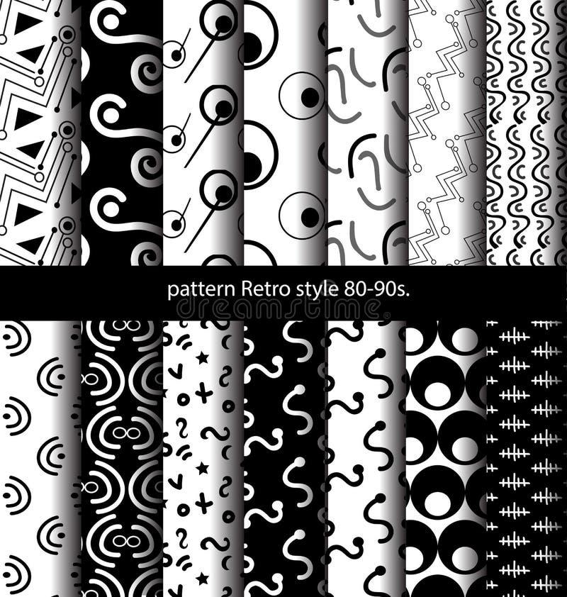 De vastgestelde 80-jaren '90 van de patroon Retro stijl royalty-vrije illustratie