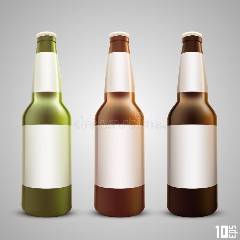 De vastgestelde kleur van de bierfles stock illustratie