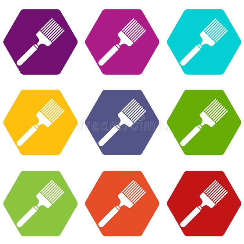 Download De Vastgestelde Kleur Van Het Borstelpictogram Hexahedron Vector Illustratie - Illustratie bestaande uit eenvoudig, illustratie: 107708400